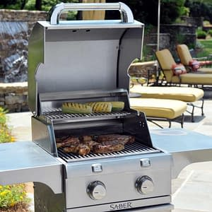 Saber 330 2 Burner Stainless Steel Freestanding-Propane Gas Grill R33SC0012 Lifestyle Close Up