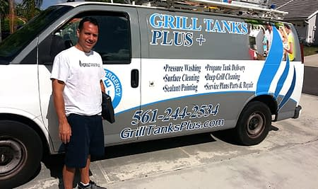 Paul with the Grill Tanks Plus van