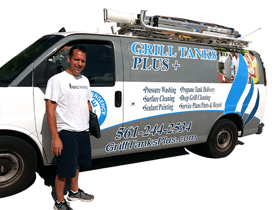 Grill Tanks Plus Van and Paul at a job