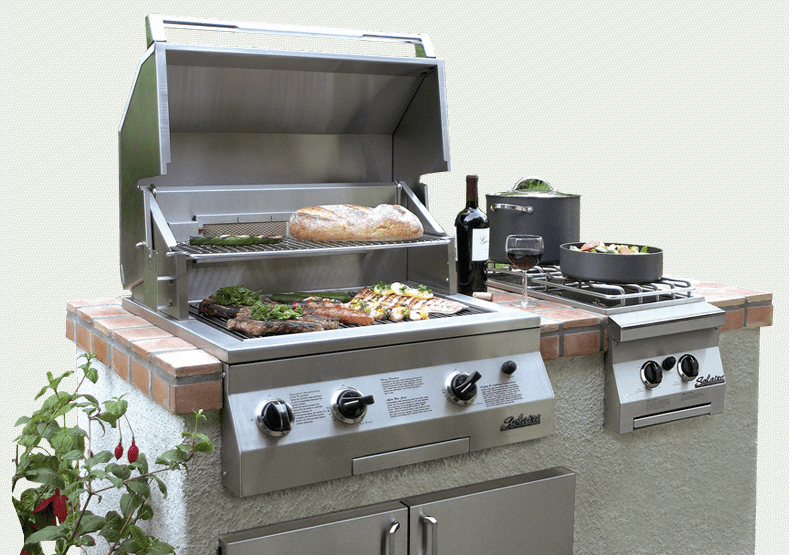 Solaire Gas Grill In Backyard